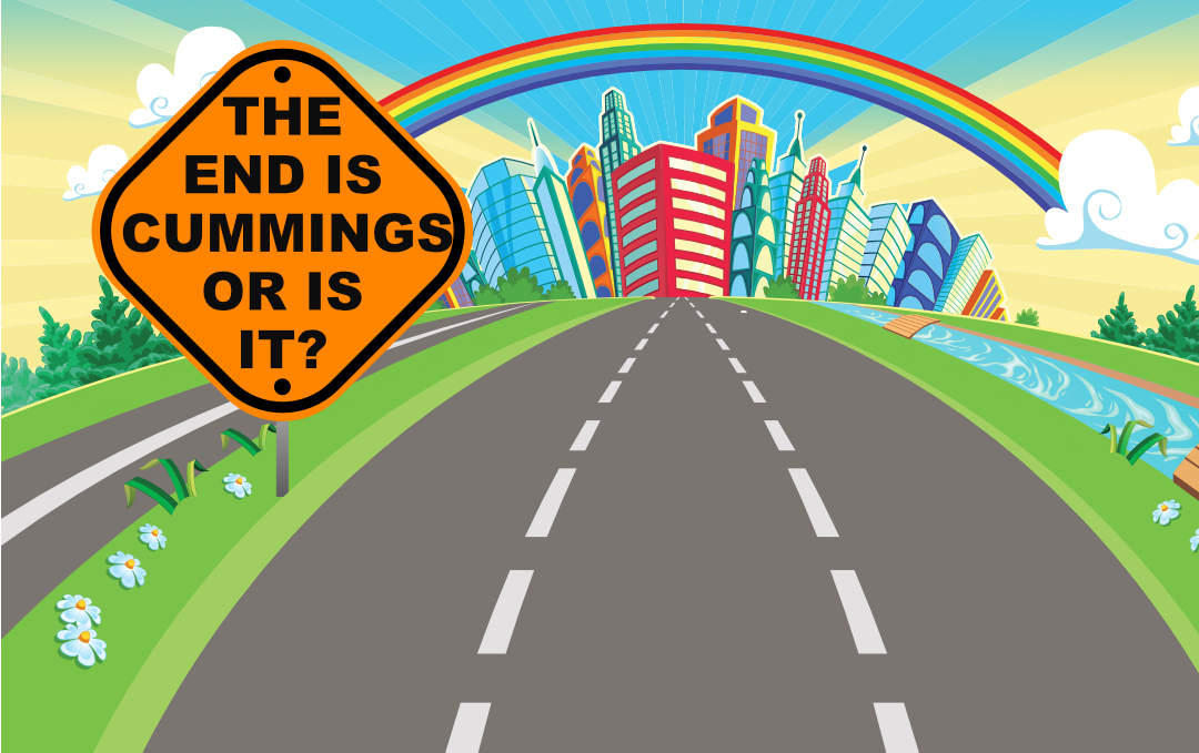 """Comic road, with road sign """"the End Is Cummings or Is it?"""